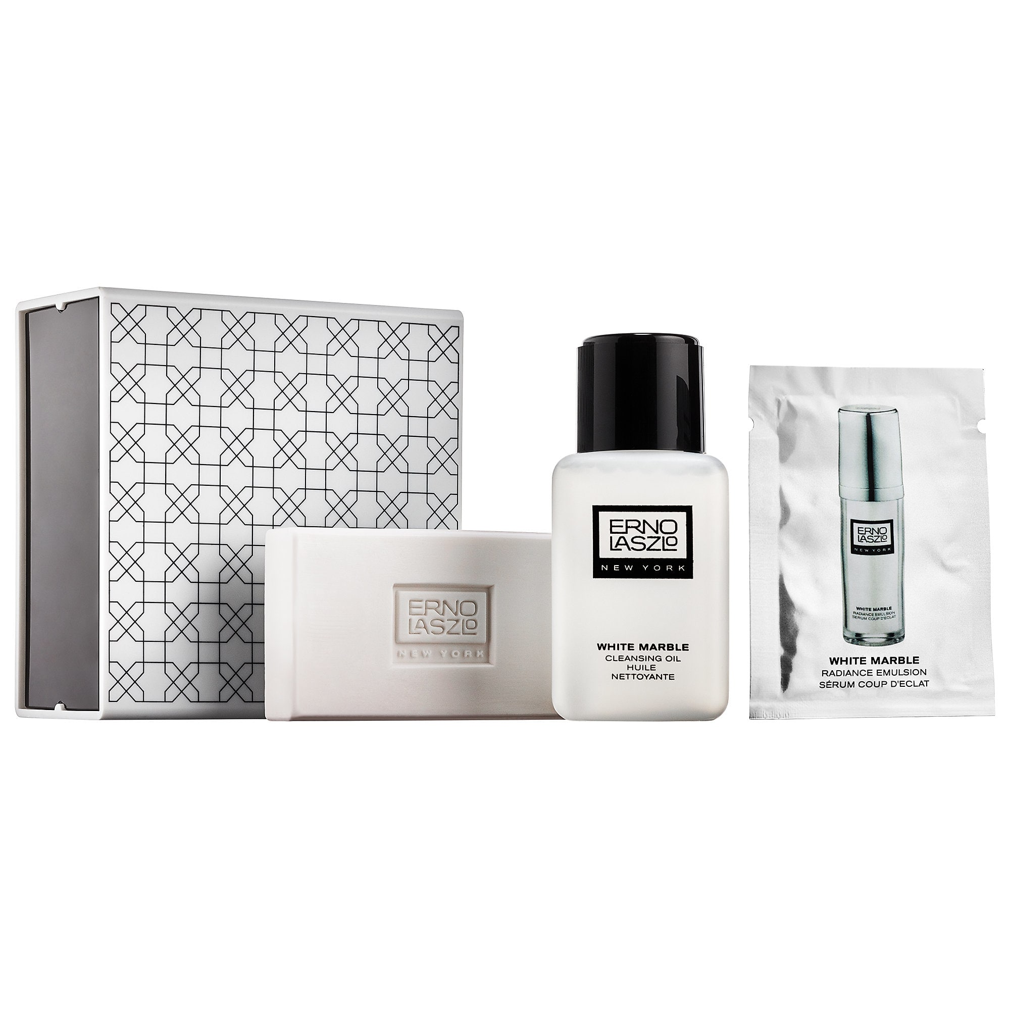 White Marble Double Cleanse Travel Set