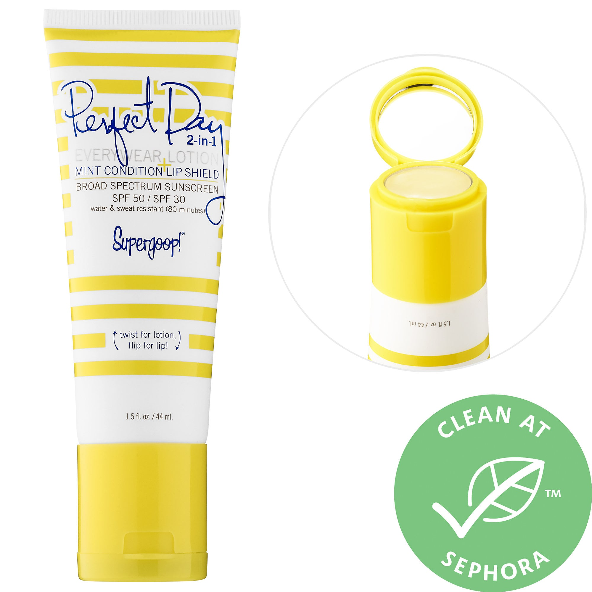 Perfect Day 2-in-1 Everywear Lotion Broad Spectrum SPF 50 + Mint Condition Lip Shield SPF 30